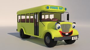 school bus cartoon 3D model