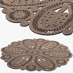 safavieh ljiljanka floral jute 3D model