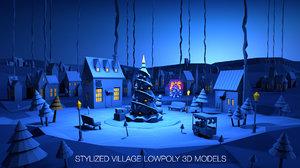 3D stylized winter village model