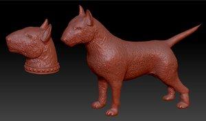 3D body bull terrier head