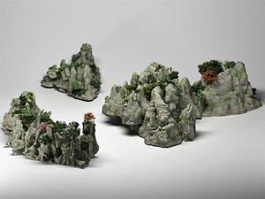 3D model mountain hills plants waterfalls