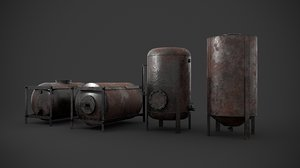3D rusted liquid storage pack model