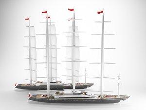 modern yacht sails model