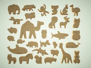 animal wood play model