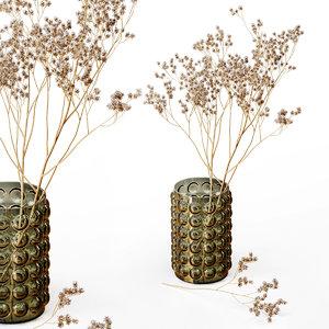 3D hm vase dry flowers model