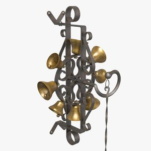 antique wrought iron bell 3D model