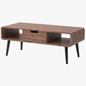 realistic mid-century coffee table 3D model