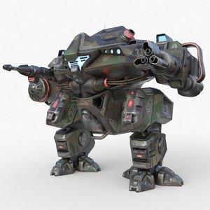 3D mecha robo cop camouflage model