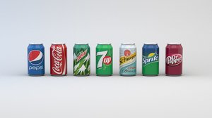 cans soft drink labels 3D model