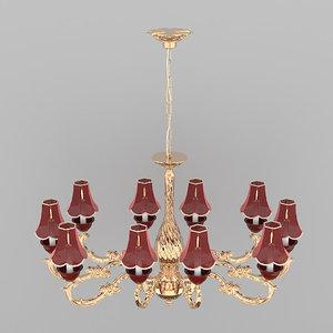 3D chandelier burgundy classic
