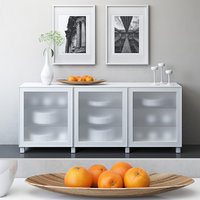 IKEA BESTA Storage combination with doors, Glassvik white frosted glass