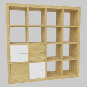 ikea kallax shelving 3D model