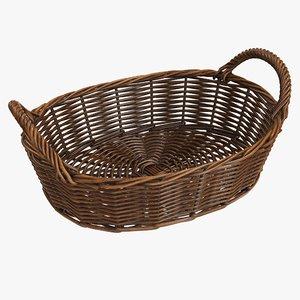 wicker basket brown 3D model