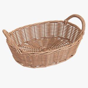 3D wicker basket brown model