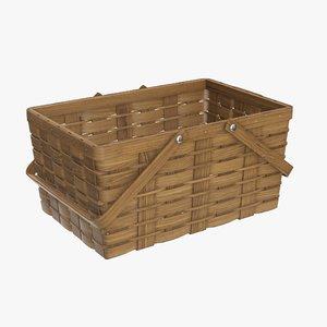 wicker basket picnic 3D model
