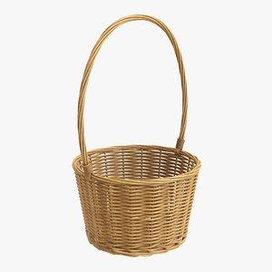 3D model wicker basket brown