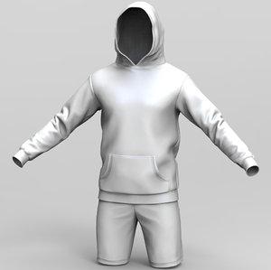 hoodie shorts model