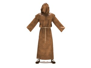 3D rigged monk robe clothes model