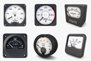 3D vintage ammeters model