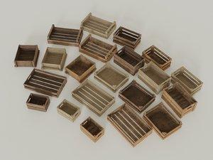 wooden crates box 3D model