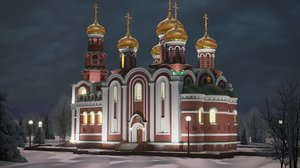 3D cathedral nativity christ russia