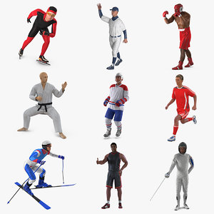 athletes rigged 3D