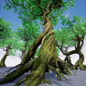pack modular tree nature 3D model
