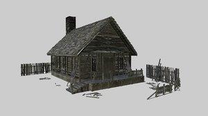 abandoned wood cabin 3D