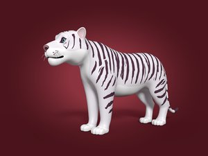 3D cartoon white tiger model