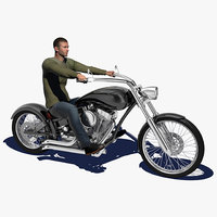 Motorcycle Rigged with Rider