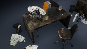 3D dirty office accessories model
