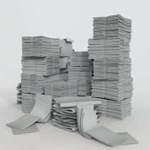 3D pile papers model