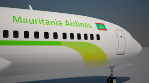 3D mauritania airlines 737 8