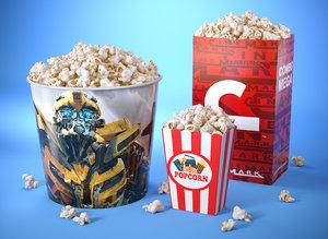 popcorn modeled 3D