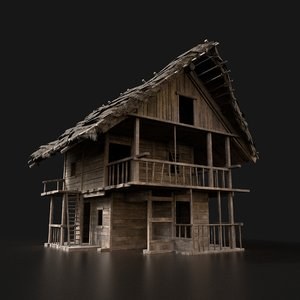 medieval wooden fantasy house 3D model