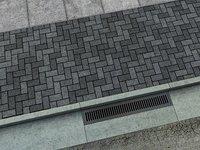 Set of Asphalt Road Sewer Grate and Sidewalk Tiles