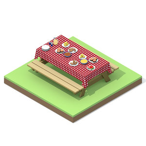 3D isometric picnic table foods