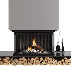 fireplace firewood 3D
