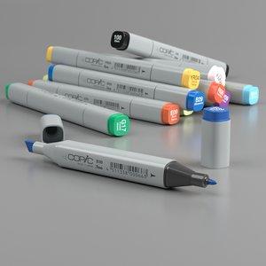 3D model set copic markers classic