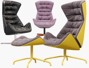 lounge chair 808 thonet 3D model