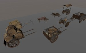 medieval carts 3D