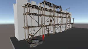 medieval scaffolding 3D