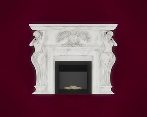 fireplace place mantel 3D