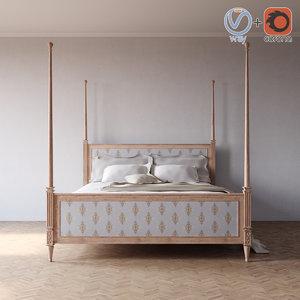 3d left blank king bed model