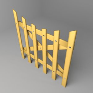 3D fence wooden 6 model