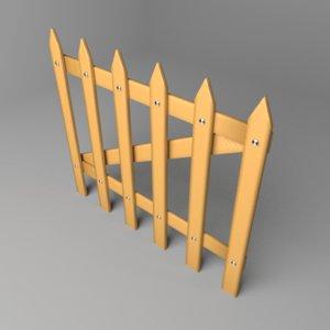 3D model fence wooden 1