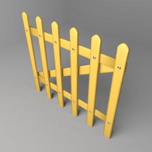 3D fence wooden 11 model