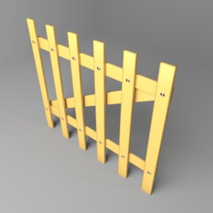 3D fence wooden 3