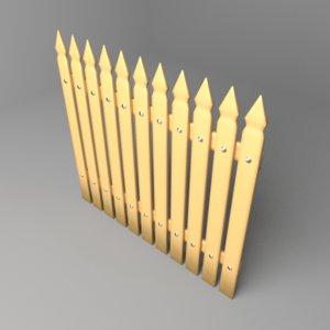 3D fence wooden 14 model