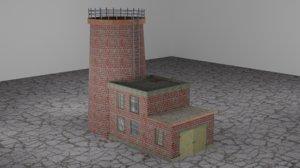 3D model ruined buildings industrial